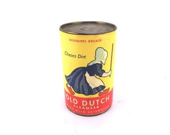 1940s UNUSED Old Dutch Cleanser Can, Nearly Pristine, Vintage Kitchen Decor, Advertising, Old Bottles and Cans, Camper Display