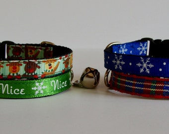 READY TO SHIP! Christmas Cat Collar Reindeer, Nice, Plaid, Snowflake - Blue, Green