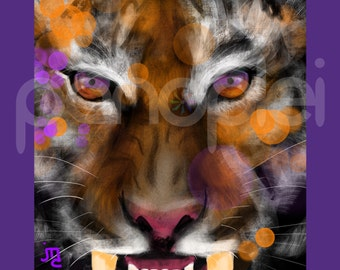 Clemson Tigers - Inspired Artwork - Tiger - Clemson University - The Tiger - ACC Football - College Football Art - 8x10 Photo Print