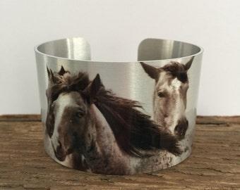 Horse jewelryWild Horse Aluminum Cuff Bracelet.North Dakota Wild Horses.