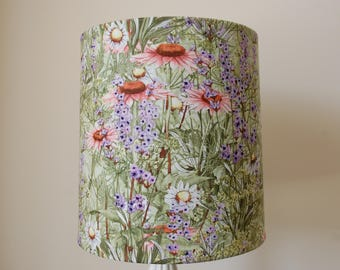 Custom Flower Garden Theme Lamp Shade with Green, Coral and Lavendar