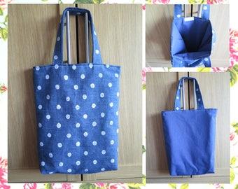 SHOPPING TOTE bag shoulder blue denim dotty polka dot white reversible lined english british Handmade By Vintage Rose