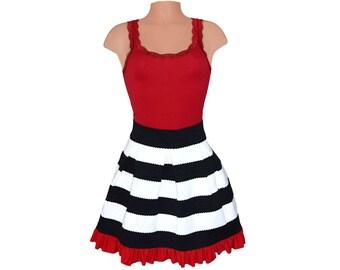 Red + Black Stripe Scuba Skirt
