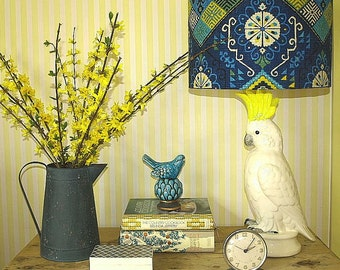 Large Australian Made Lamp Shade in Blue, Yellow, Turquoise, Ethnic Inspired Design 2 Sizes, 2 Fittings Made to Order 1-2 weeks