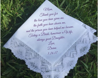 Mother of the Bride Gift mother of the groom gift mother in law Handkerchief PRINTED wedding handkerchief wedding gift idea keepsake (H 144)