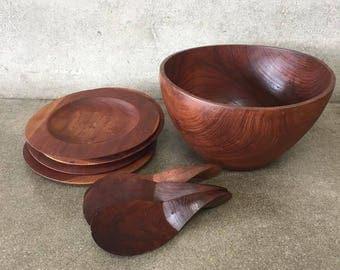 Vintage Teak Salad Bowl Set (6KGGSS)