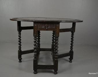 Pollard Oak Carved Drop Leaf Table