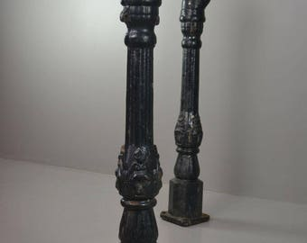 Pair Antique Cast Iron Horse Hitching Posts