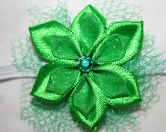 Green flower headband. Mermaid Bow. Mermaid headband. Green headband. Green bow. Green flower hair accessory. Flower headband. Baby headband