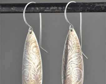 sterling silver peacock feather pattern earrings with patina