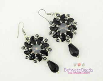 Silver Black Earrings, Black Agate Earrings, Beaded Drop Earrings, Dark Onyx Crystal Stockings Fillers Mom Girlfriend Gift, Vintage Beadwork