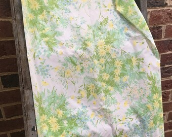 Vintage Retro blue, yellow and green floral king pillowcase