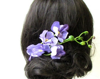 Lilac Light Purple Long Orchid Flower Branch Hair Comb Fascinator Headpiece 1279