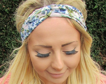 Pink Blue Garden Floral Print Twist Turban Headband Boho Festival Hair Band 2007