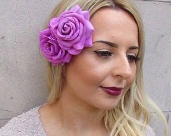 Large Purple Pink Double Rose Flower Hair Clip Rockabilly 1950s Fascinator 2957
