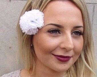Double White Carnation Flower Hair Clip Rockabilly 1950s Fascinator 1940s 2964