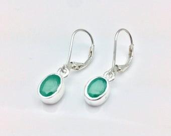 Emerald Earrings // 925 Sterling Silver // Oval Setting // Green Emerald Earrings // Lever Backings