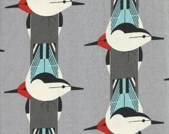 Organic cotton fabric birds Birch charley harper DIY cushions sustainable retro vintage upside down