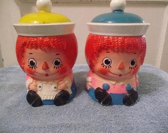 Pair Raggedy Ann Cookie Jars w Diff Hats