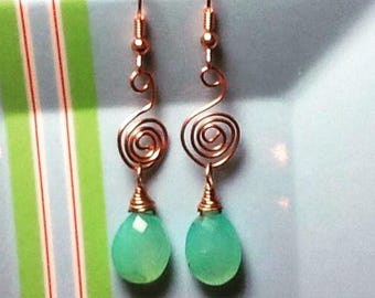 AAA quality aqua chalcedony tear drop gemstones/faceted/wrapped in raw copper wire