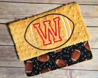 Football with name option Burp Cloth Set  Available Mix and Match  Made to Order, Monogramming Option Yellow Black Sport