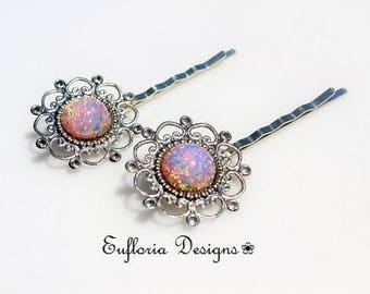 OPAL HAIR PINS Silver | Opal Hair Slides | Glass Hair Pins | Antique Filigree Wedding Bobby Pins | Bridal Hair Pins | Vintage Hair Clip Set