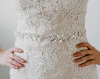 Silver Leaf Bridal Belt   Silver Leaves Wedding Belt   Silver Leaf and Pearl Sash Belt   Pearl Leaf Bridal Sash   Silver Meadow Sash