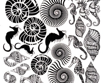 Shells and Seahorse Decals-Decals-Black Enamel Decals-Glass Decals-Ceramic Decals