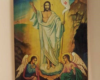 """Icon Resurrection of Christ  hand-painted of hot colors directly on solid wood   24х32х2см (9.6""""x 12.6""""x0.8"""")consecrated"""