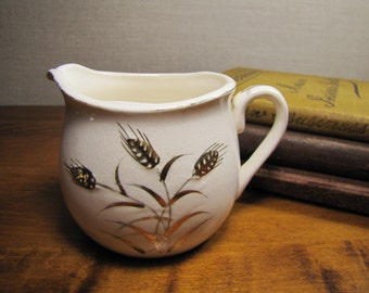 Small Ceramic and Porcelain Creamer - Embossed Wheat Pattern With Gold Accent