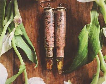 308 caliber cartridge mandala earrings with real preserved flowers bullets. free people , love, bohemian , boho, ammo, flowers, statement,