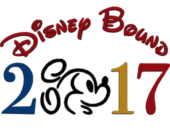 Disney Bound Mickey Outline 2017. Instant Download Machine Embroidery Design. 4x4 5x7 6x10
