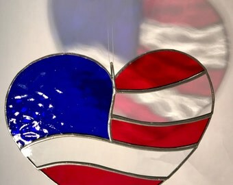 American Flag Stained Glass Heart