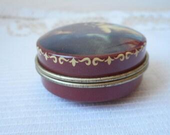 vintage French metal pill box / trinket box collectible