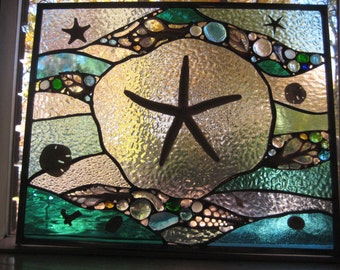 Ocean Treasures 17 stained glass panel window with Large sea star!