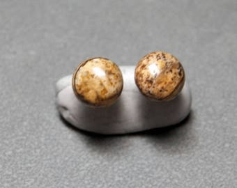 8mm Picture Jasper Gemstone Post Earrings with Sterling Silver 8mm