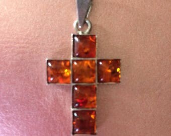 Vintage Amber Cross Sterling Pendant