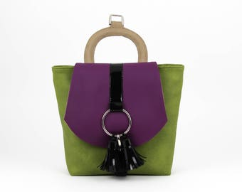 Modern Handbag,  Unique Backpack, Purse for Women, Green Handbag, Simple Purple Bag, Green Backpack, Unique Handbag, Womens Purse