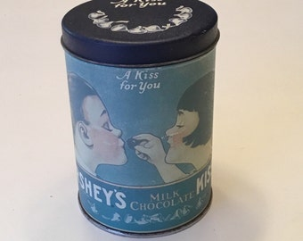 """Hershey's Milk Chocolate Kisses """"A Kiss For You"""" Vintage Collectible Tin Canister 1980"""