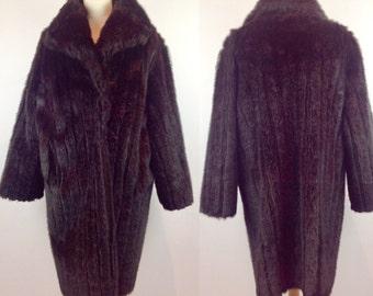 Vintage 60s Dunbar Faux Fur Coat, Brown Fur Coat, Faux Fur Coat, Retro Fur Coat, Winter Coat, Size 12 14 Medium Large