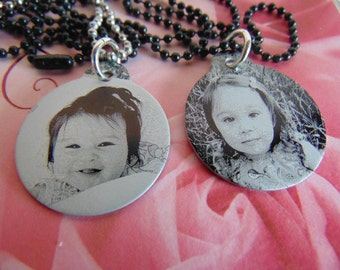 "Custom Photo Picture with Personalize Text or Hand Writing on back, Or Second Photo. Black 1.25"" round Aluminum Pendant,"