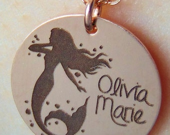 Still Available for Christmas Delivery!Mermaid Necklace with your name engraved in front. Personalize Custom Necklace yellow gold rose gold