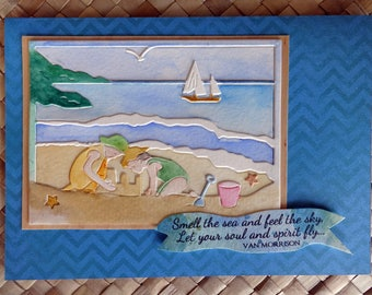 """Seashore greeting card """"Smell the sea and feel the sky"""" Van Morrison quote"""