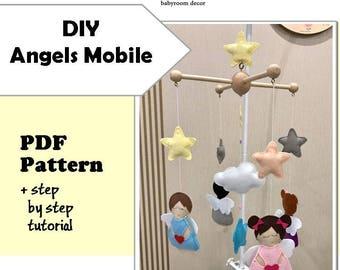 DIY Angels MOBILE: PDF Pattern and Tutorial -  Felt Pattern - Angels felt - Crib Felt Mobile - pdf mobile - felt pdf