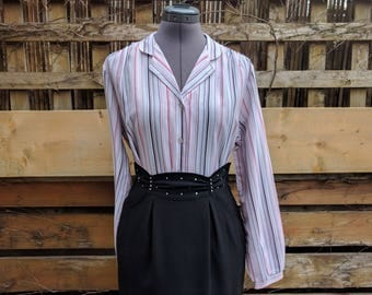 Vintage 1980's White Pink and Blue Striped EXQUISITE Button Collar Blouse 100% Georgette Polyester Office Secretary Blouse