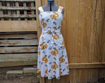 Vintage 60's or 70's Novelty Print White With Black and Yellow Gold Fit and Flare Cotton Blend Summer Sundress