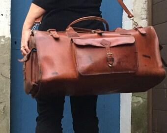 Vintage - mid century leather bag leather bag
