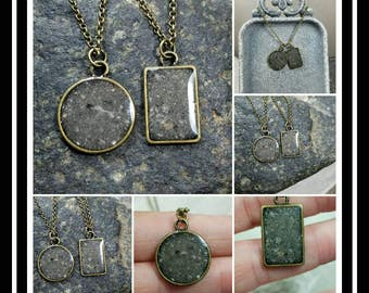 Bronze Memorial Ash Pendant Necklace /Ash Necklace /Cremation Necklace / Cremation Jewelry/ Pet Memorial Ash Jewelry/37 Colors/Double Sided