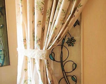 Pair of Vintage French Laura Ashley Style Curtains, Ivory & Purple Floral Toile Curtain Drapes, Window Treatments, Toile Curtain Panels