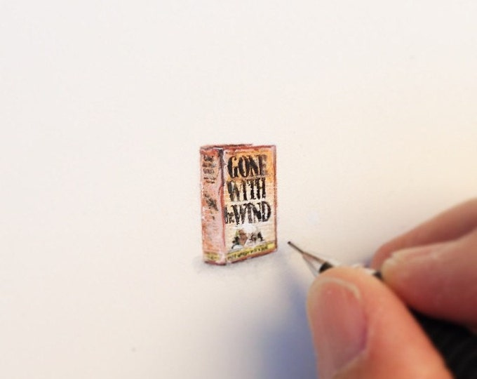 Original Miniature painting of the Gone With The Wind Book tiny painting, Gone with the wind book tiny art 5 x 5